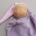 Mini rongyi baba- lila, Puha plüss Waldorf jellegű baba a legkisebbeknek...