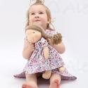 Újdonság!- Waldorf baba, és azonos anyagból készült kislány ruha- kék, Játék, Ruha, divat, cipő, Baba, babaház, Gyerekruha, Egy új, nagyon kedves termékkel készültem az ünnepekre: baba- ruha páros.  A baba: Természetes alapa..., Meska