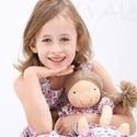 Újdonság!- Waldorf baba, és azonos anyagból készült kislány ruha- kék, 110-s, Játék, Ruha, divat, cipő, Baba, babaház, Gyerekruha, Egy új, nagyon kedves termékkel készültem az ünnepekre: baba- ruha páros.  A baba: Természetes alapa..., Meska