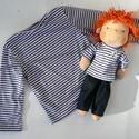Újdonság!- Waldorf baba, és azonos anyagból készült kisfiú póló- csíkos, 98-s, Játék, Ruha, divat, cipő, Baba, babaház, Gyerekruha, Egy új, nagyon kedves termékkel készültem az ünnepekre: baba- ruha páros.  A baba: Természetes alapa..., Meska