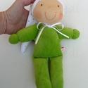 Minimanó- zöld, Baba-mama-gyerek, Játék, Baba, babaház, Baba játék, Vidám, puha plüssből készült saját tervezésű Waldorf manó kicsiknek. Kb. 22 cm magas, sapival együtt..., Meska
