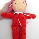 Minimanó- piros, Baba-mama-gyerek, Játék, Baba, babaház, Baba játék, Vidám, puha plüssből készült saját tervezésű Waldorf manó kicsiknek. Kb. 22 cm magas, sapival együtt..., Meska