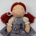 Vörös hajú baba, Természetes alapanyagokból készült kb. 36 cm m...