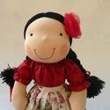 Roma kislány, Játék, Baba-mama-gyerek, Baba, babaház, Természetes alapanyagokból készült kb. 38 cm magas Waldorf jellegű baba.  Gyapjúval töltött. Haja rö..., Meska