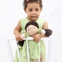 Zöld ruhás copfos baba, Baba-mama-gyerek, Játék, Baba, babaház, Természetes alapanyagokból készült kb. 36 cm magas Waldorf jellegű baba. Rugalmas pamut a teste, gya..., Meska