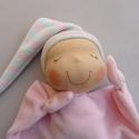 Mini rongyi baba- rózsaszín, Puha plüss Waldorf jellegű baba a legkisebbeknek...
