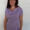 Lila póló, Ruha, divat, cipő, Női ruha, Felsőrész, póló, 100% pamutból készült lila póló.  Méret: M, 40-42 (mb.:92 cm, db.: 74 cm, csb.: 98 cm ) Hossza: 62 c..., Meska