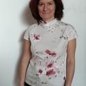 Virágos keleties póló, Ruha, divat, cipő, Női ruha, Felsőrész, póló, 100% finom, minőségi pamutból készült, keleties hangulatú, virágos női póló.  Selymes, picit fényes ..., Meska