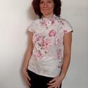 Virágmintás keleties póló, Ruha, divat, cipő, Női ruha, Felsőrész, póló, 100% finom, minőségi pamutból készült, keleties hangulatú, virágos női póló.  Selymes, picit fényes ..., Meska