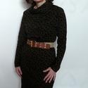 Barna kámzsanyakú ruha, Ruha, divat, cipő, Női ruha, Felsőrész, póló, Finom, puha, meleg pamutból készült kámzsa nyakú ruha. Barna, fekete pöttyökkel. Kényelmes, ugyanakk..., Meska