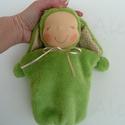 Nyuszi Ninike- zöld, Játék, Baba, babaház, Plüssállat, rongyjáték, Játékfigura, Kb. 22 cm magas puha wellsoftból készült Waldorf jellegű baba. Műszállal töltött, a teste aljában mű..., Meska