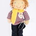 Waldorf fiú baba, Természetes alapanyagokból készült kb. 38 cm m...