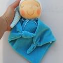 Rongyi Waldorf baba- kék, Játék, Baba, babaház, Plüssállat, rongyjáték, Baba játék, Puha plüss Waldorf baba a legkisebbeknek. Feje műszálból kézült. Magassága kb. 27 cm, plusz a sapi. ..., Meska