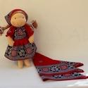 Olga- Waldorf baba kislány fejkendővel, Természetes alapanyagokból készült kb. 37 cm m...