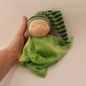 Rongyi Waldorf baba- zöld, Puha plüss rongyi baba a legkisebbeknek. Magassá...