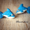 Mini delfin, Ékszer, Fülbevaló, Süthető gyurmából aprólékos munkával készült vidám delfin :)   Mérete: 1 * 1,5 cm.   Ha időd engedi ..., Meska