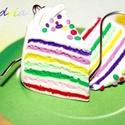 Szivárvány tortaszelet - Fülbevaló, Ékszer, óra, Fülbevaló, Ékszerkészítés, Gyurma, Tortaszelet a fülbe?...  Miért ne! Boldogság hormont termelő vidám színes finomság, garantáltan kal..., Meska