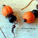Fekete-Narancs, Ékszer, Fülbevaló, Süthető gyurmából készült fülbevaló. A végeredmény egy elegáns nőies darab lett. <3  Teljes hossz: 4..., Meska