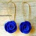 Kék rózsa, Ékszer, Fülbevaló, Sablon nélkül süthető gyurmából készült rózsás fülbevaló.  A rózsák mérete: 2 cm. Teljes hossz: 5 cm..., Meska