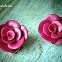 Rózsás klipsz , Süthető gyurmából, sablon nélkül készített...