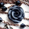 Rózsás nyaklánc, Ékszer, Ruha, divat, cipő, Medál, Nyaklánc,  Fekete rózsás nyaklánc.   Lánc hossza: 50 cm.   Köszönöm, hogy benéztél :) További szép napot!   ~~..., Meska