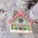 Házikó formájú karácsonyfadísz, Kézműves díszt készítettem, tartós süthető...