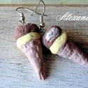Csoki- vanília, Ékszer, Fülbevaló, Kézműves ékszerek a szerelmeseinek készült fülbevaló. Süthető gyurmából aprólékos munkával készített..., Meska