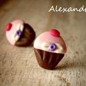 Mini muffin, Ékszer, Fülbevaló, Kalóriaszegény kiegészítő édesszájúaknak.  Süthető gyurmából aprólékos munkával, sablon nélkül készü..., Meska