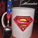 Superman szett, Konyhafelszerelés, Dekoráció, Bögre, csésze, Gyurma, Szobrászat, Süthető gyurmával díszített bögre, kiskanállal. A képregényhősös teázó v kávézós szettet  kicsiknek..., Meska