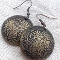 Fekete-bronz fülbevaló, Ékszer, Fülbevaló, Süthető gyurmából készült fülbevaló. Alkalmi vagy mindennapi ruhatárad tökéletes kiegészìtője lehet...., Meska