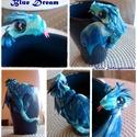 Kék sárkányos bögre, Süthető gyurmából készült, egyedi kis kék-f...