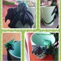 Erdőjáró sárkányos bögre, Süthető gyurmából készült erdei kissárkány...