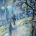 December éjszaka, 2021, Városkép, akvarell, papír, 23,5 x 34 cm Öltöz...