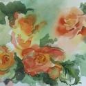 Begónia, 2018, Művészet, Festmény, Akvarell, Festészet, Csendélet. Akvarell, papír, 34,5 x 25 cm, Meska