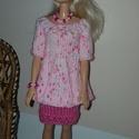 Rózsaszín Barbie babaruha, Játék, Baba játék, Kötés, Kézzel kötött Barbie babaruha 29 cm-es babákhoz,  A szett: tartalma:rózsaszín szoknya, halvány rózs..., Meska