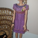 Lila Barbie babaruha, Játék, Baba játék, Kötés, Kézzel kötött Barbie babaruha 29 cm-es babákhoz,  A szett tartalma:Halvány lila színátmenetes ruha,..., Meska