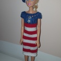 Kézzel kötött barbie ruha, Barbie amerikai stílusban. Kézzel kötött ruha ...