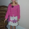 Kézzel kötött barbie ruha, Játék, Baba, babaház, Kötés, Hímzés, Barbie őszi együttes.  Kézzel kötött szoknya, blézer, sapka és táska., Meska