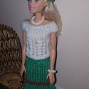 Barbie babaruha, Baba-mama-gyerek, Játék, Baba, babaház, Baba játék, Kézzel kötött piros-fehér-zöld, kétrészes Barbie babaruha, hozzáillő kiegészítőkkel., Meska