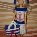Barbie babaruha, Baba-mama-gyerek, Játék, Baba játék, Baba, babaház, Hímzés, Kötés, Kézzel kötött Barbie babaruha, matróz stílusban, hozzáillő kiegészítőkkel., Meska