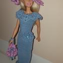 Barbie babaruha, Baba-mama-gyerek, Játék, Baba játék, Baba, babaház, Horgolás, Horgolt, sellő fazonú, hosszú estélyi ruha kiegészítőkkel. A ruha hátul patenttal záródik., Meska