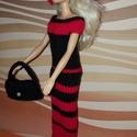 Barbie babaruha, Baba-mama-gyerek, Játék, Baba játék, Baba, babaház, Kézzel kötött, piros-fekete, színházi ruha Barbie babának, kiegészítőkkel., Meska