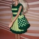Barbie babaruha, Baba-mama-gyerek, Játék, Baba játék, Baba, babaház, Kézzel kötött, sárga-zöld Barbie babaruha kiegészítőkkel, Meska