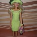 Barbie babaruha, Baba-mama-gyerek, Játék, Baba játék, Baba, babaház, Kézzel kötött, sárga-rózsaszín Barbie babaruha kiegészítőkkel, Meska