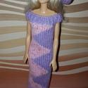 Barbie babaruha, Baba-mama-gyerek, Játék, Baba játék, Baba, babaház, Kézzel kötött, rózsaszín-lila, elegáns Barbie babaruha hozzáillő kalappal, Meska