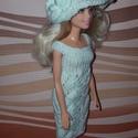 Barbie babaruha, Baba-mama-gyerek, Játék, Baba játék, Baba, babaház, Kézzel kötött, halványzöld, csipke Barbie babaruha, hozzáillő kalappal, Meska