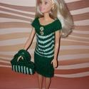 Barbie babaruha, Baba-mama-gyerek, Játék, Baba játék, Baba, babaház, Kézzel kötött, zöld-fehér, Barbie babaruha, hozzáillő kis kézitáskával., Meska