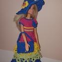 Barbie babaruha, Játék, Baba, babaház, Horgolás, Horgolt Barbie babaruha hozzáillő kalappal és kézitáskával. A ruha 30 cm-es Barbie babára illik. A ..., Meska