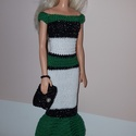 Barbie babaruha, Kézzel horgolt zöld-fehér-ezüstös fekete Barb...