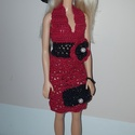 Barbie babaruha, Kézzel horgolt, piros-fekete csipke Barbie babaru...